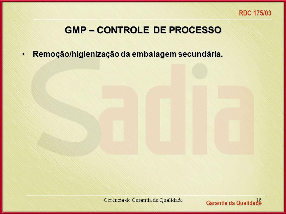 Garantia da Qualidade RDC 175/03 Gerência de Garantia da Qualidade18 GMP – CONTROLE DE PROCESSO Remoção/higienização da embalagem secundária.Remoção/higienização da embalagem secundária.