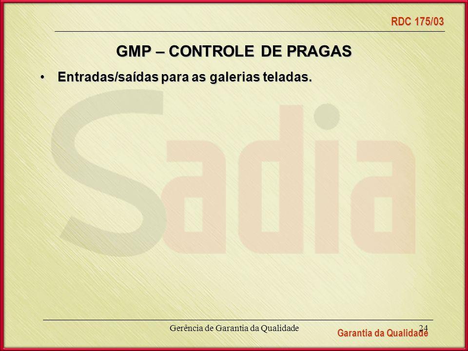 Garantia da Qualidade RDC 175/03 Gerência de Garantia da Qualidade24 GMP – CONTROLE DE PRAGAS Entradas/saídas para as galerias teladas.Entradas/saídas para as galerias teladas.