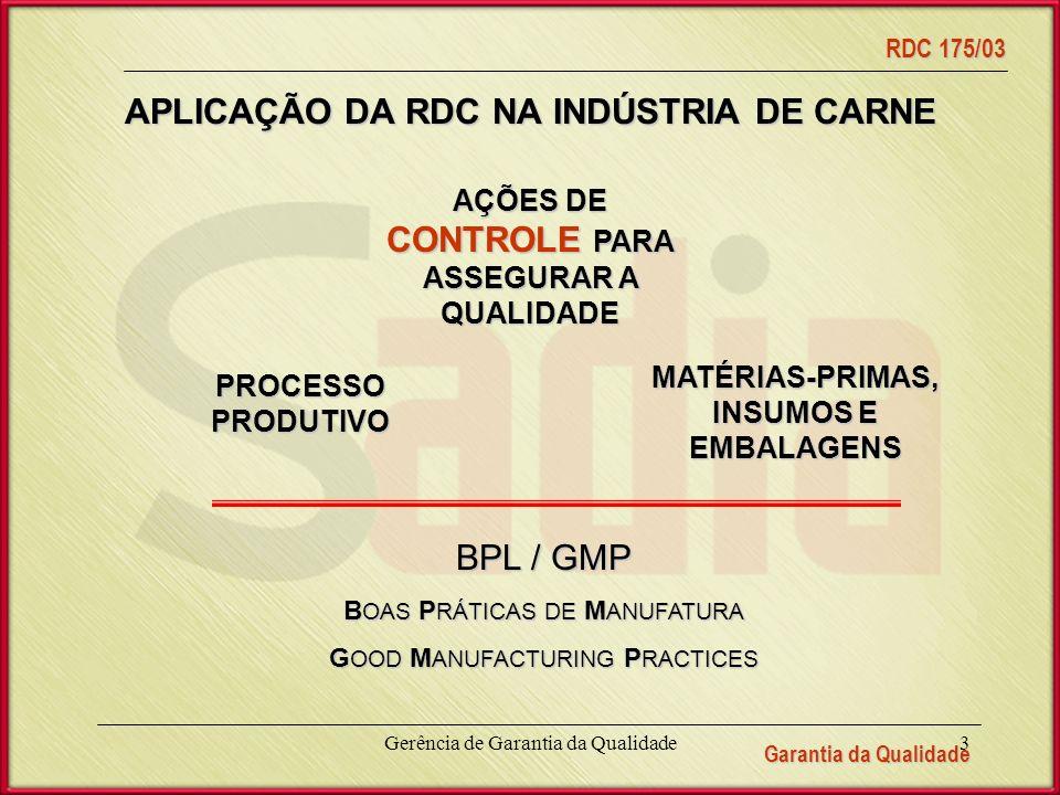 Garantia da Qualidade RDC 175/03 Gerência de Garantia da Qualidade3 APLICAÇÃO DA RDC NA INDÚSTRIA DE CARNE AÇÕES DE CONTROLE PARA ASSEGURAR A QUALIDADE MATÉRIAS-PRIMAS, INSUMOS E EMBALAGENS PROCESSO PRODUTIVO BPL / GMP B OAS P RÁTICAS DE M ANUFATURA G OOD M ANUFACTURING P RACTICES