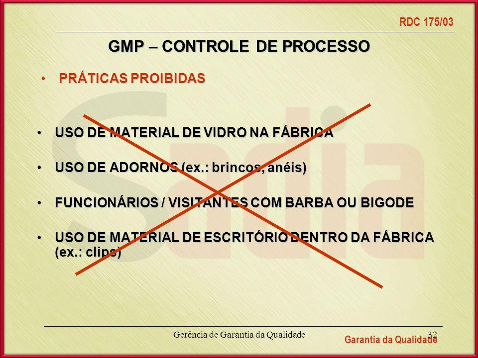 Garantia da Qualidade RDC 175/03 Gerência de Garantia da Qualidade32 GMP – CONTROLE DE PROCESSO PRÁTICAS PROIBIDASPRÁTICAS PROIBIDAS USO DE MATERIAL DE VIDRO NA FÁBRICAUSO DE MATERIAL DE VIDRO NA FÁBRICA USO DE ADORNOS (ex.: brincos, anéis)USO DE ADORNOS (ex.: brincos, anéis) FUNCIONÁRIOS / VISITANTES COM BARBA OU BIGODEFUNCIONÁRIOS / VISITANTES COM BARBA OU BIGODE USO DE MATERIAL DE ESCRITÓRIO DENTRO DA FÁBRICA (ex.: clips)USO DE MATERIAL DE ESCRITÓRIO DENTRO DA FÁBRICA (ex.: clips)
