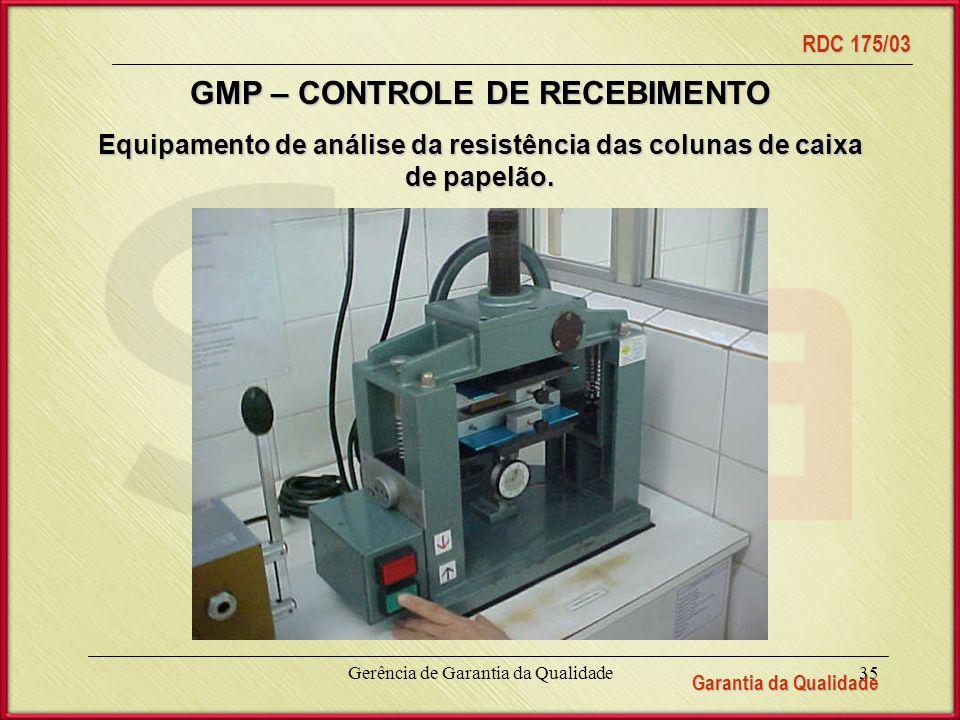 Garantia da Qualidade RDC 175/03 Gerência de Garantia da Qualidade35 Equipamento de análise da resistência das colunas de caixa de papelão.