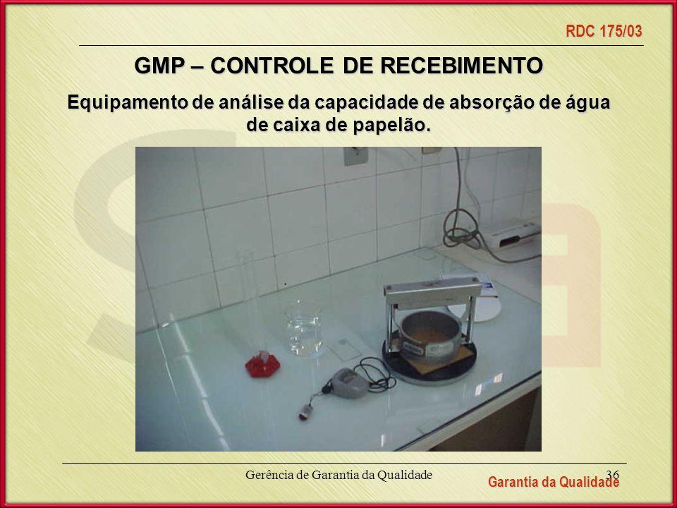 Garantia da Qualidade RDC 175/03 Gerência de Garantia da Qualidade36 Equipamento de análise da capacidade de absorção de água de caixa de papelão.