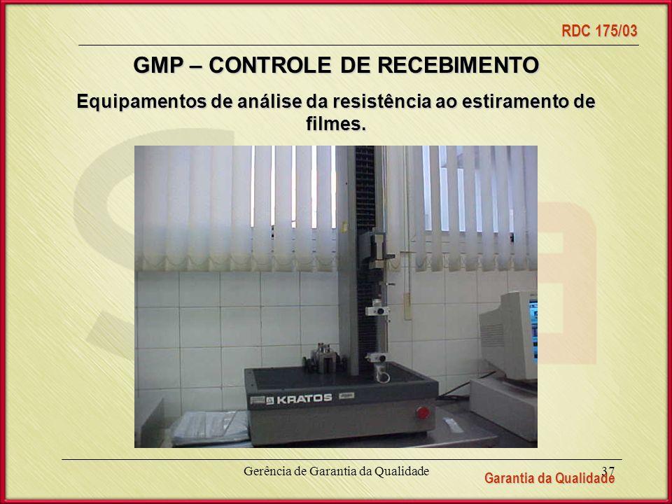 Garantia da Qualidade RDC 175/03 Gerência de Garantia da Qualidade37 Equipamentos de análise da resistência ao estiramento de filmes.