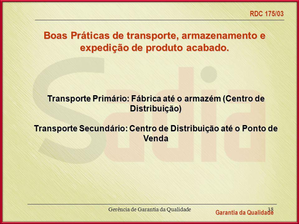Garantia da Qualidade RDC 175/03 Gerência de Garantia da Qualidade38 Boas Práticas de transporte, armazenamento e expedição de produto acabado.