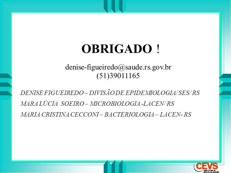 OBRIGADO ! denise-figueiredo@saude.rs.gov.br (51)39011165 DENISE FIGUEIREDO – DIVISÃO DE EPIDEMIOLOGIA/ SES/ RS MARA LÚCIA SOEIRO – MICROBIOLOGIA -LAC