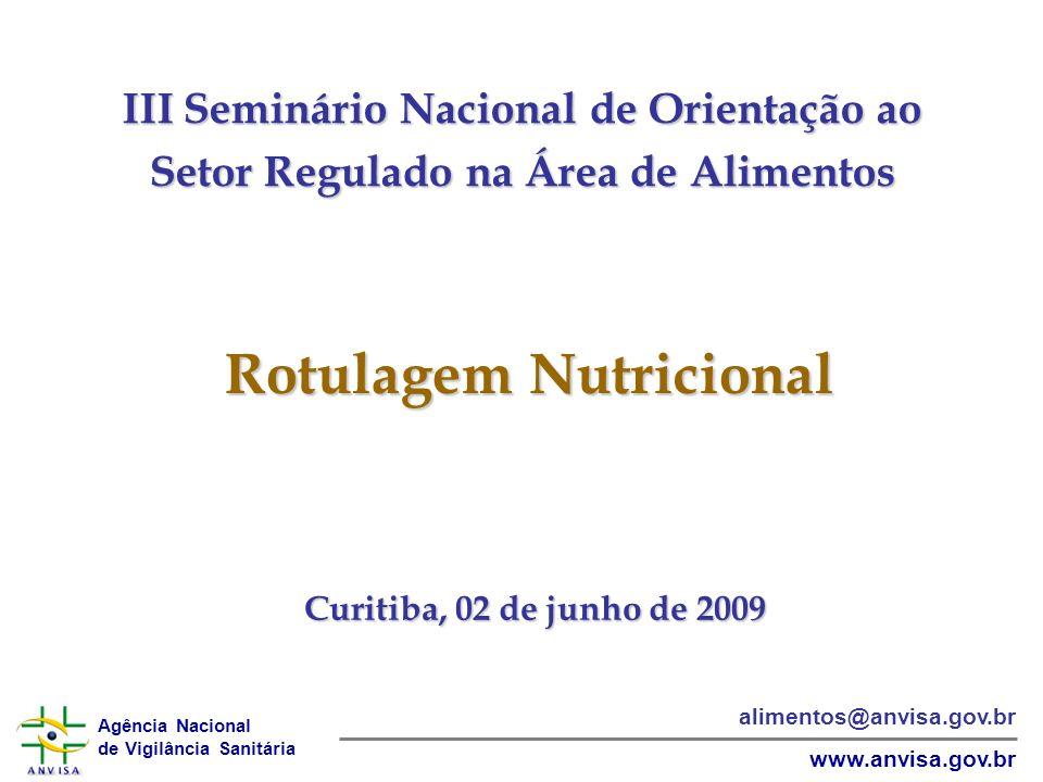 Agência Nacional de Vigilância Sanitária www.anvisa.gov.br alimentos@anvisa.gov.br III Seminário Nacional de Orientação ao Setor Regulado na Área de Alimentos Curitiba, 02 de junho de 2009 Rotulagem Nutricional