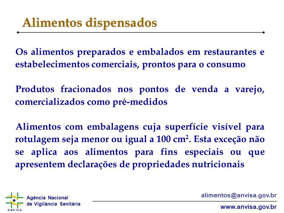 Agência Nacional de Vigilância Sanitária www.anvisa.gov.br alimentos@anvisa.gov.br Alimentos dispensados Os alimentos preparados e embalados em restau