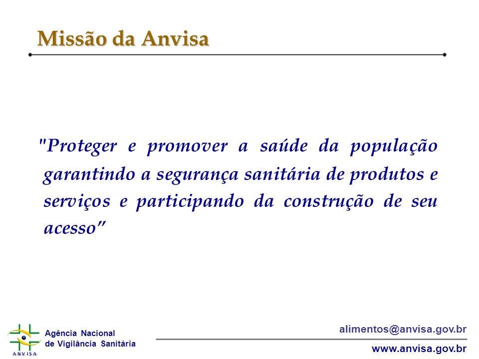 Agência Nacional de Vigilância Sanitária www.anvisa.gov.br alimentos@anvisa.gov.br