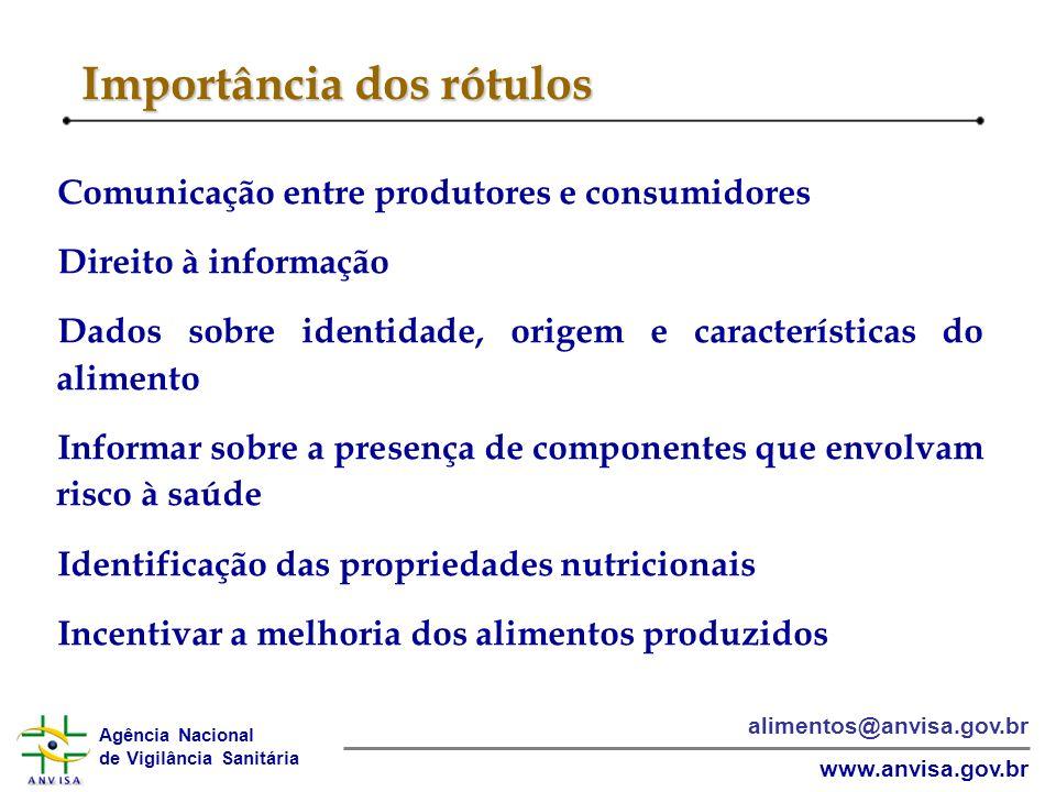 Agência Nacional de Vigilância Sanitária www.anvisa.gov.br alimentos@anvisa.gov.br Importância dos rótulos Comunicação entre produtores e consumidores