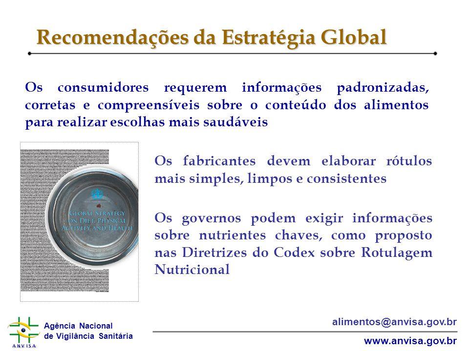 Agência Nacional de Vigilância Sanitária www.anvisa.gov.br alimentos@anvisa.gov.br Recomendações da Estratégia Global Os consumidores requerem informa