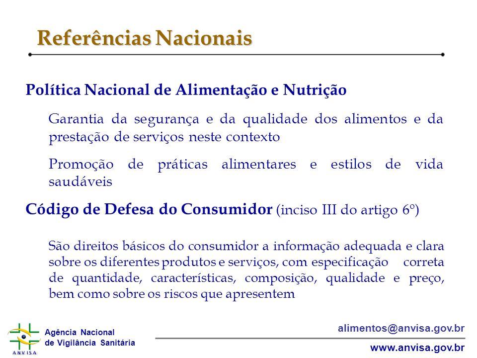 Agência Nacional de Vigilância Sanitária www.anvisa.gov.br alimentos@anvisa.gov.br Referências Nacionais Política Nacional de Alimentação e Nutrição G