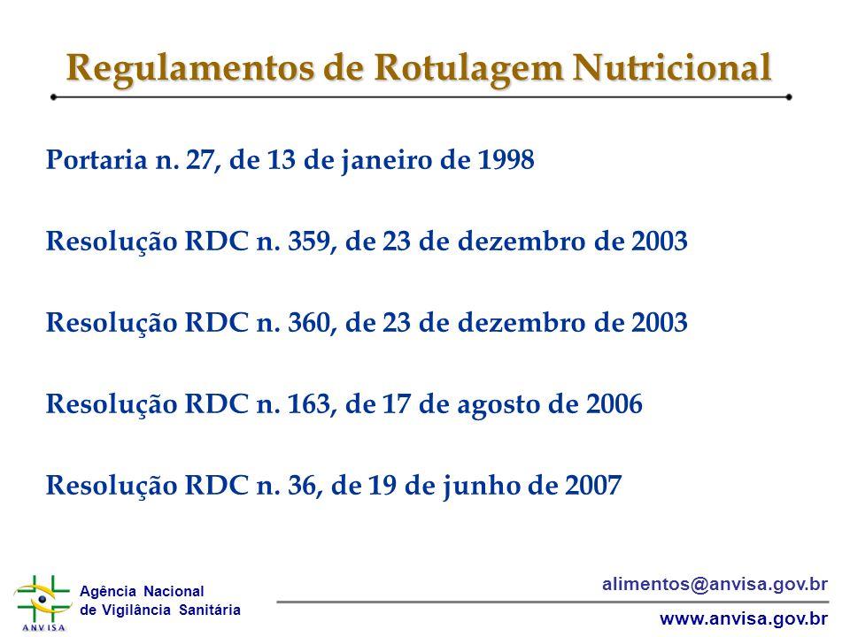 Agência Nacional de Vigilância Sanitária www.anvisa.gov.br alimentos@anvisa.gov.br Regulamentos de Rotulagem Nutricional Portaria n.
