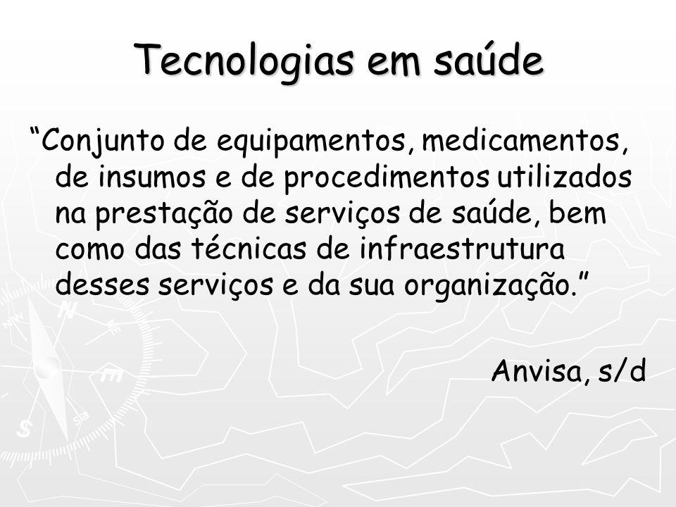 Tecnologias em saúde Conjunto de equipamentos, medicamentos, de insumos e de procedimentos utilizados na prestação de serviços de saúde, bem como das