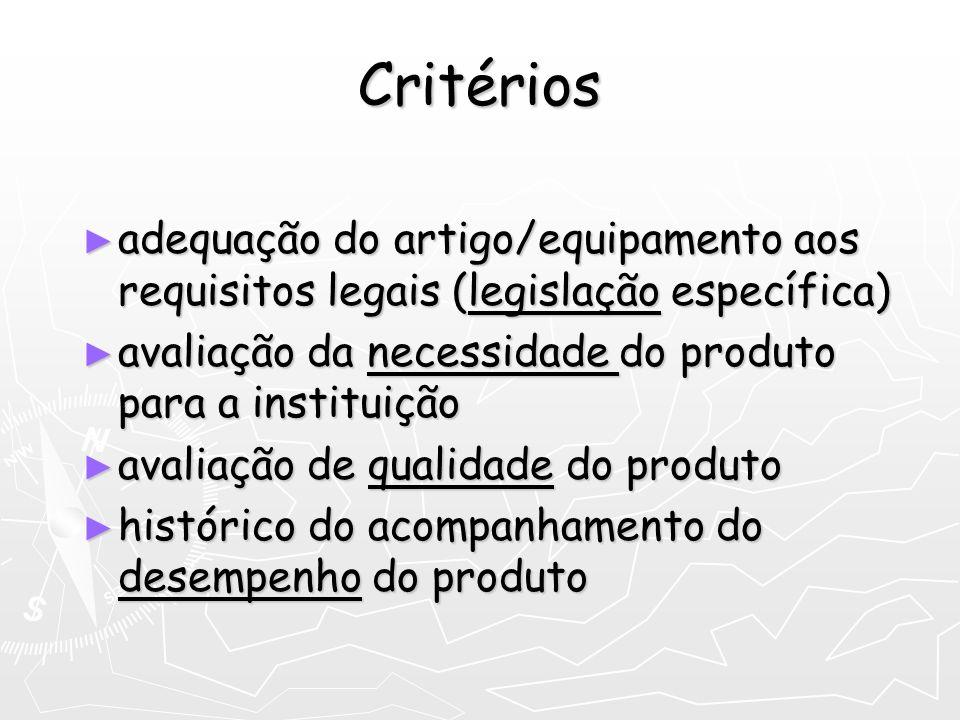 Critérios adequação do artigo/equipamento aos requisitos legais (legislação específica) adequação do artigo/equipamento aos requisitos legais (legisla