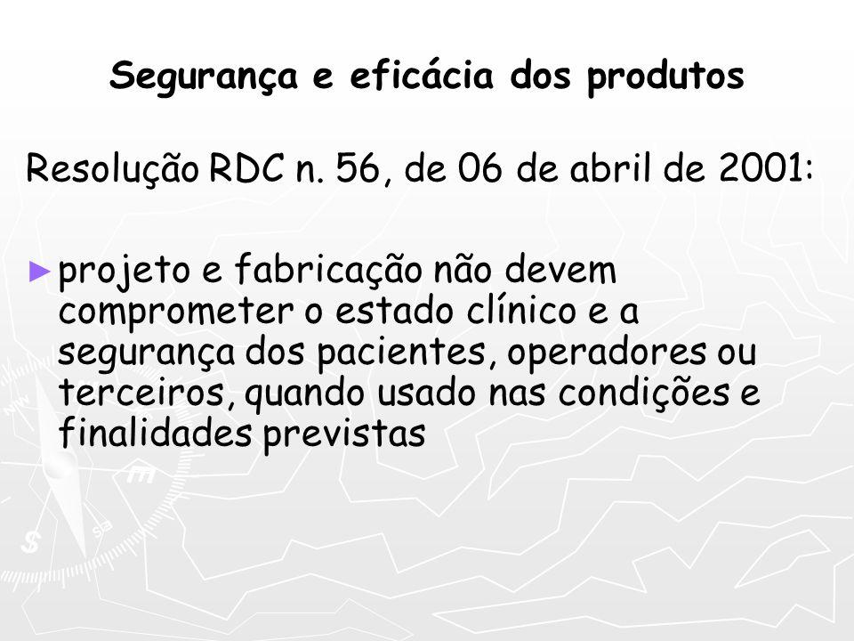Segurança e eficácia dos produtos Resolução RDC n. 56, de 06 de abril de 2001: projeto e fabricação não devem comprometer o estado clínico e a seguran