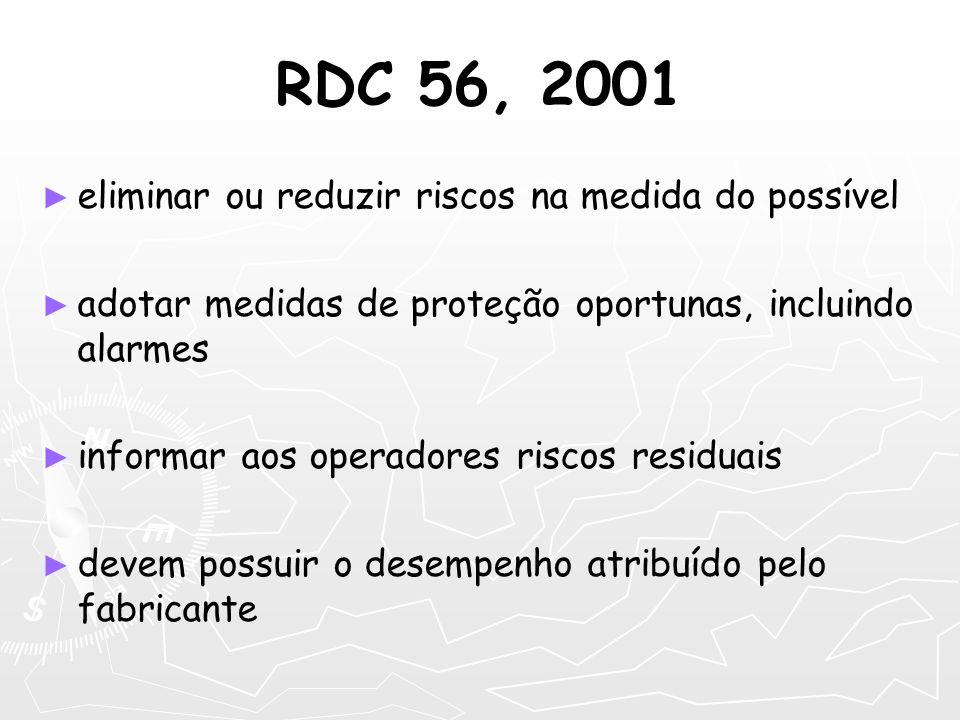 RDC 56, 2001 eliminar ou reduzir riscos na medida do possível adotar medidas de proteção oportunas, incluindo alarmes informar aos operadores riscos r