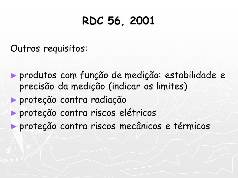 RDC 56, 2001 Outros requisitos: produtos com função de medição: estabilidade e precisão da medição (indicar os limites) proteção contra radiação prote