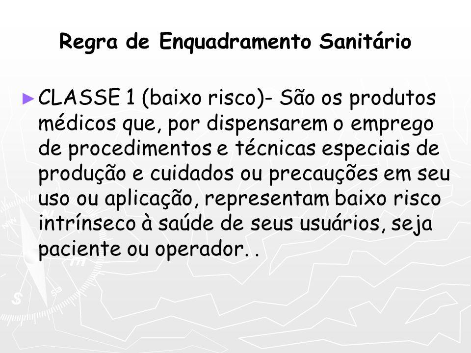 Regra de Enquadramento Sanitário CLASSE 1 (baixo risco)- São os produtos médicos que, por dispensarem o emprego de procedimentos e técnicas especiais