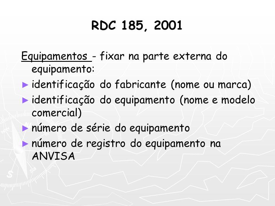 RDC 185, 2001 Equipamentos - fixar na parte externa do equipamento: identificação do fabricante (nome ou marca) identificação do equipamento (nome e m
