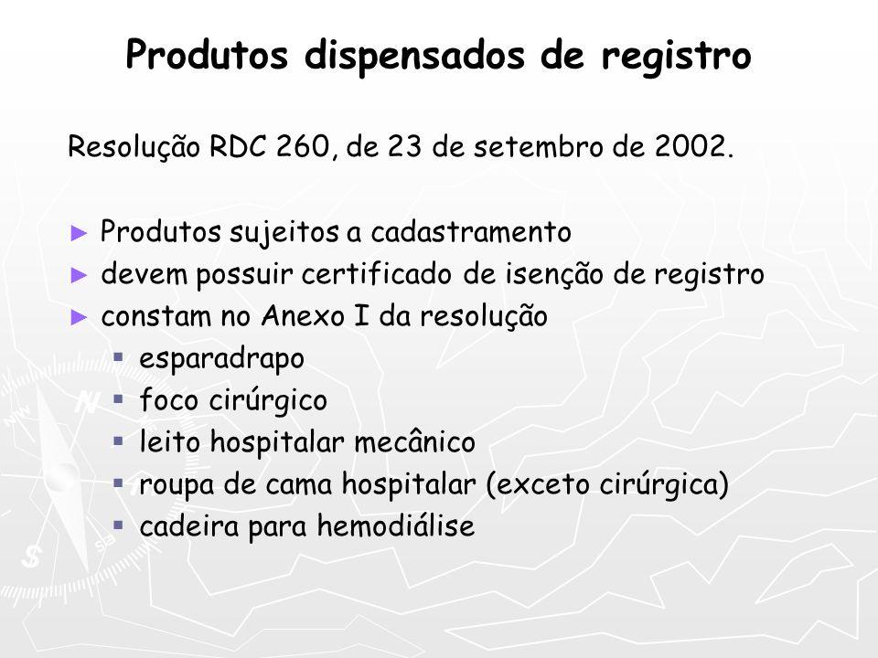 Produtos dispensados de registro Resolução RDC 260, de 23 de setembro de 2002. Produtos sujeitos a cadastramento devem possuir certificado de isenção