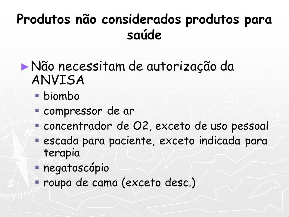 Produtos não considerados produtos para saúde Não necessitam de autorização da ANVISA biombo compressor de ar concentrador de O2, exceto de uso pessoa