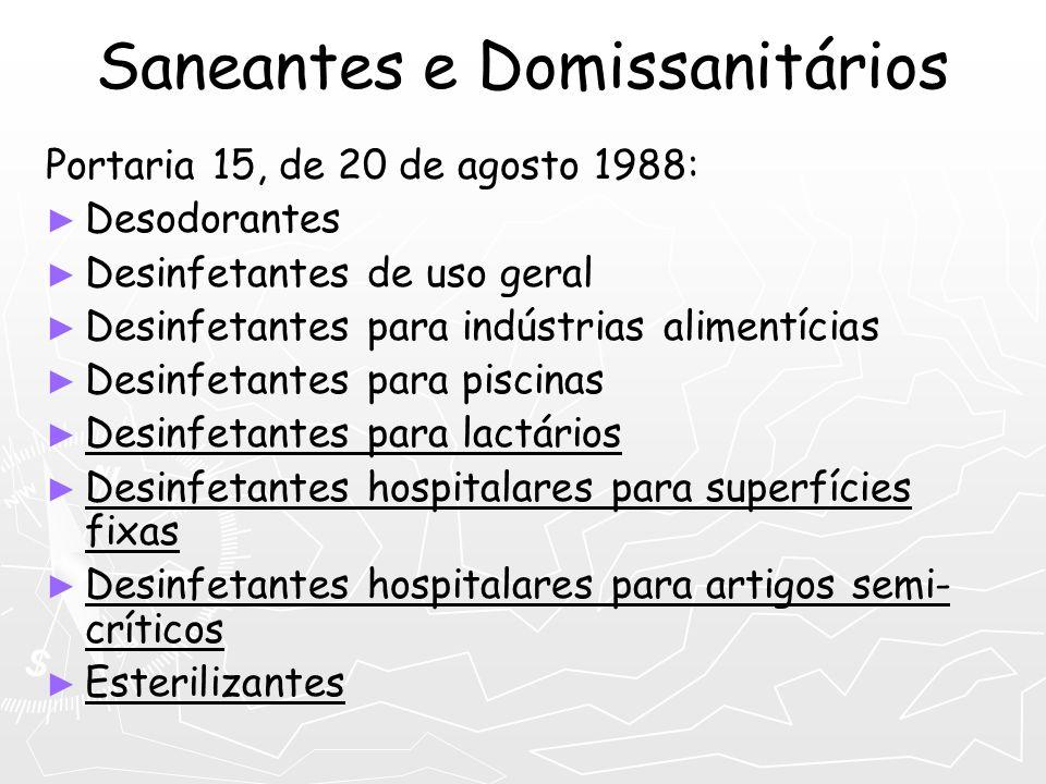 Saneantes e Domissanitários Portaria 15, de 20 de agosto 1988: Desodorantes Desinfetantes de uso geral Desinfetantes para indústrias alimentícias Desi