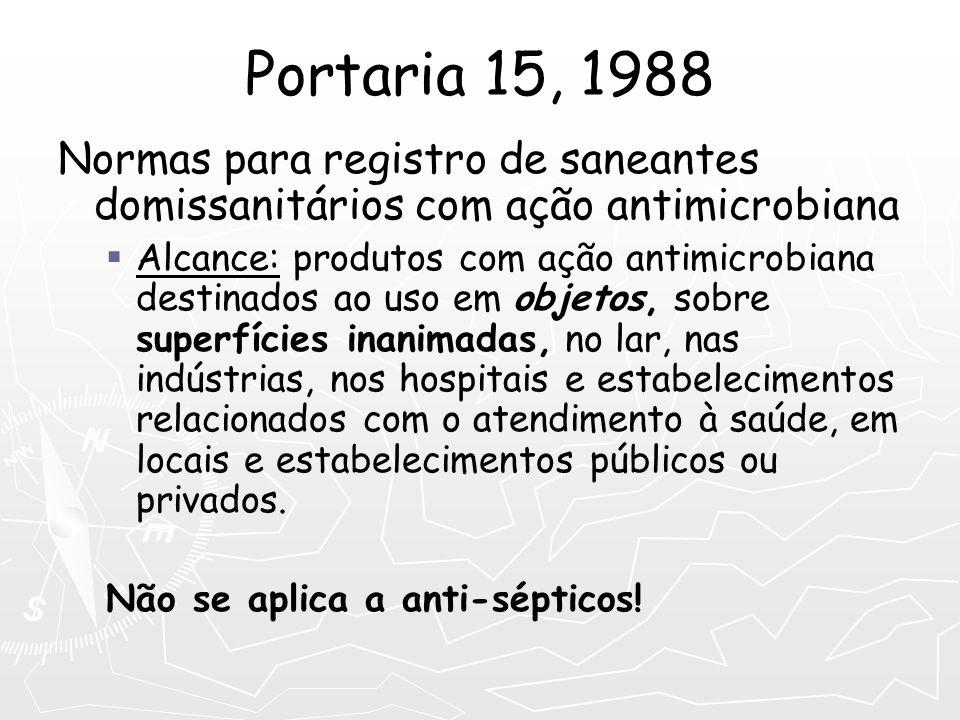 Portaria 15, 1988 Normas para registro de saneantes domissanitários com ação antimicrobiana Alcance: produtos com ação antimicrobiana destinados ao us