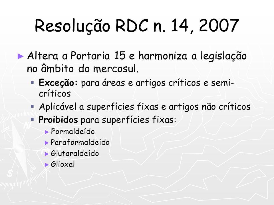 Resolução RDC n. 14, 2007 Altera a Portaria 15 e harmoniza a legislação no âmbito do mercosul. Exceção: para áreas e artigos críticos e semi- críticos