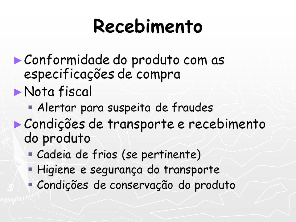 Recebimento Conformidade do produto com as especificações de compra Nota fiscal Alertar para suspeita de fraudes Condições de transporte e recebimento