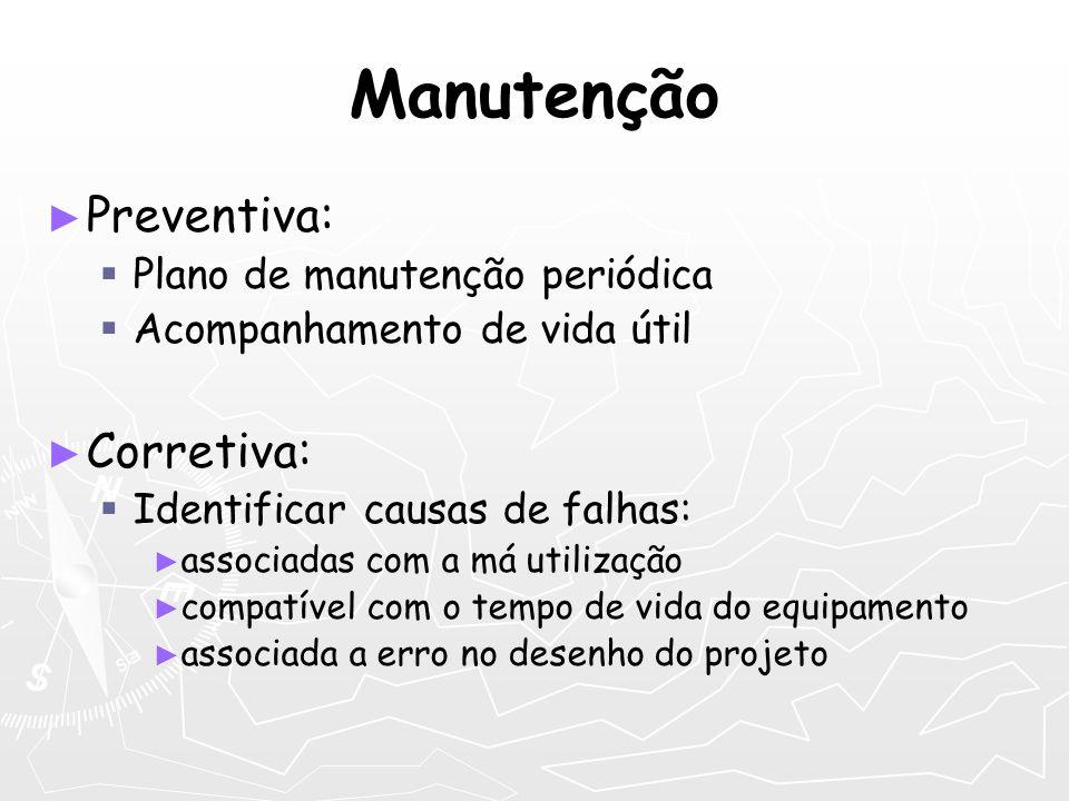 Manutenção Preventiva: Plano de manutenção periódica Acompanhamento de vida útil Corretiva: Identificar causas de falhas: associadas com a má utilizaç