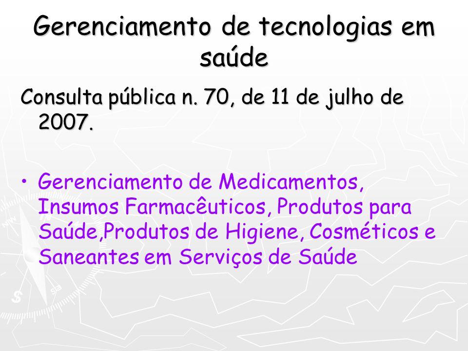Gerenciamento de tecnologias em saúde Consulta pública n. 70, de 11 de julho de 2007. Gerenciamento de Medicamentos, Insumos Farmacêuticos, Produtos p