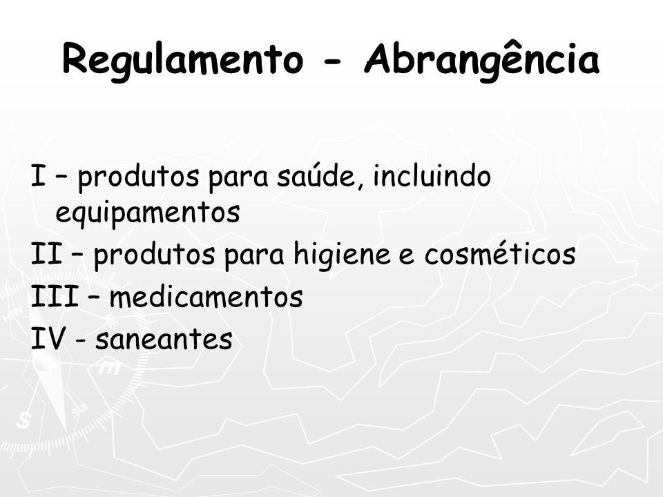 Regulamento - Abrangência I – produtos para saúde, incluindo equipamentos II – produtos para higiene e cosméticos III – medicamentos IV - saneantes