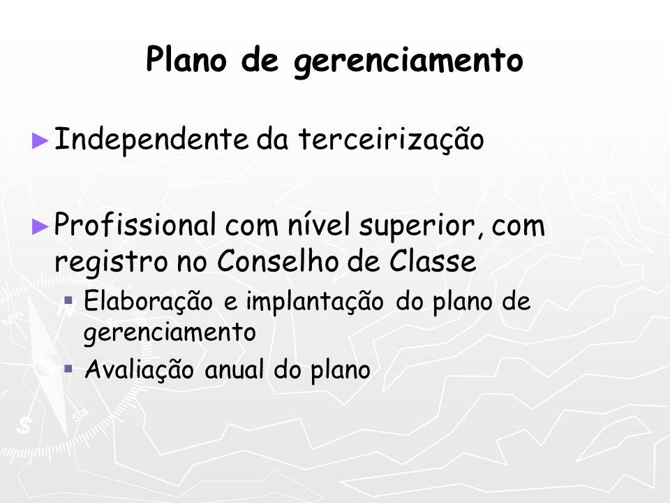Plano de gerenciamento Independente da terceirização Profissional com nível superior, com registro no Conselho de Classe Elaboração e implantação do p