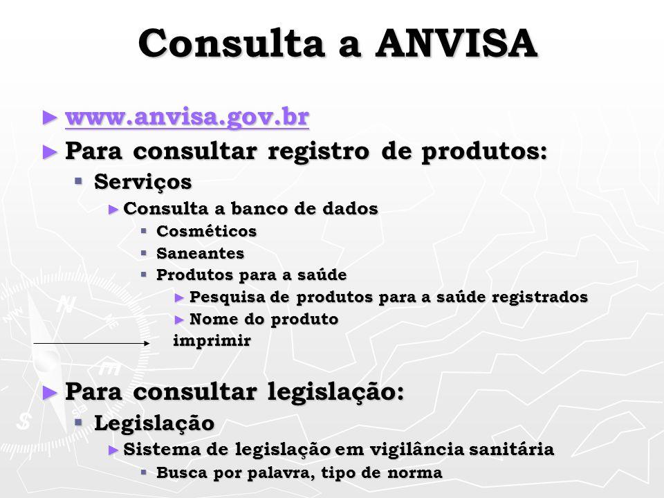Consulta a ANVISA www.anvisa.gov.br www.anvisa.gov.br www.anvisa.gov.br Para consultar registro de produtos: Para consultar registro de produtos: Serv