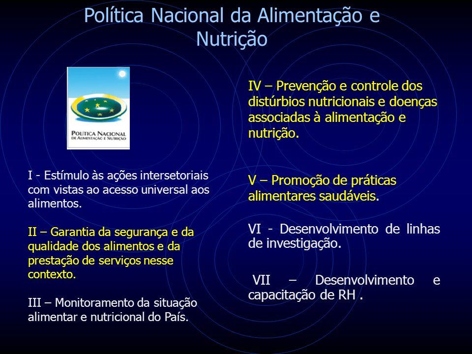 Política Nacional da Alimentação e Nutrição I - Estímulo às ações intersetoriais com vistas ao acesso universal aos alimentos.