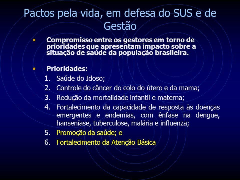 Pactos pela vida, em defesa do SUS e de Gestão Compromisso entre os gestores em torno de prioridades que apresentam impacto sobre a situação de saúde da população brasileira.