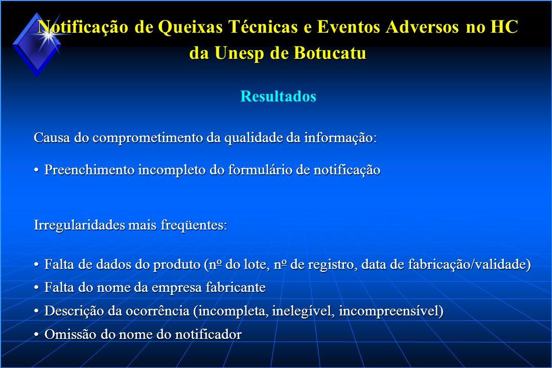 Notificação de Queixas Técnicas e Eventos Adversos no HC da Unesp de Botucatu Causa do comprometimento da qualidade da informação: Preenchimento incom