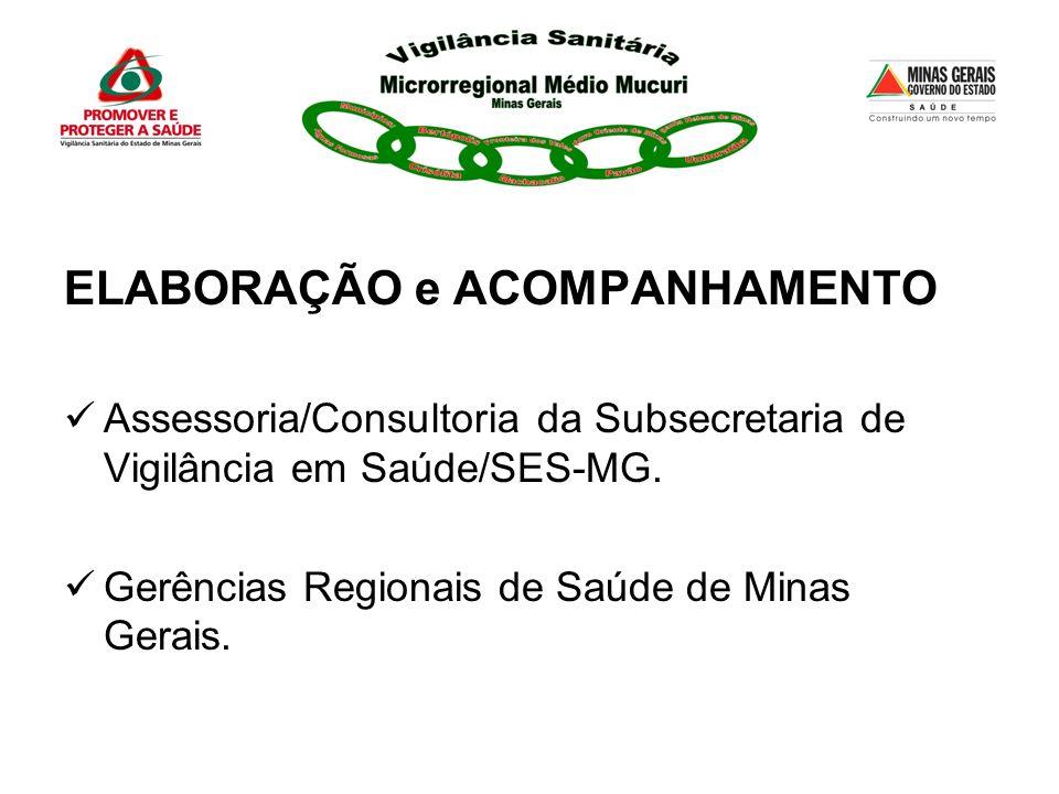 ELABORAÇÃO e ACOMPANHAMENTO Assessoria/Consultoria da Subsecretaria de Vigilância em Saúde/SES-MG. Gerências Regionais de Saúde de Minas Gerais.