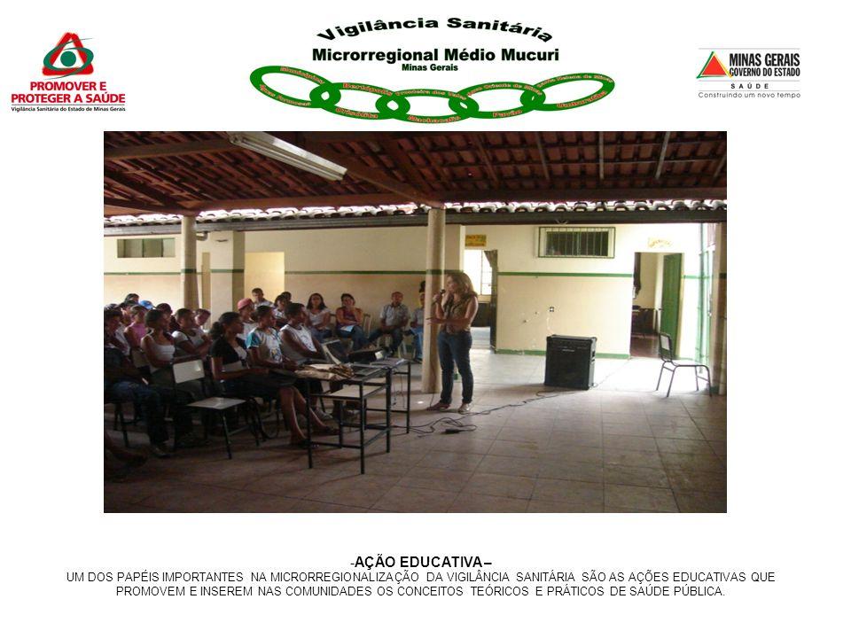 -AÇÃO EDUCATIVA – UM DOS PAPÉIS IMPORTANTES NA MICRORREGIONALIZAÇÃO DA VIGILÂNCIA SANITÁRIA SÃO AS AÇÕES EDUCATIVAS QUE PROMOVEM E INSEREM NAS COMUNID