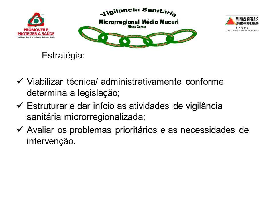 Estratégia: Viabilizar técnica/ administrativamente conforme determina a legislação; Estruturar e dar início as atividades de vigilância sanitária mic