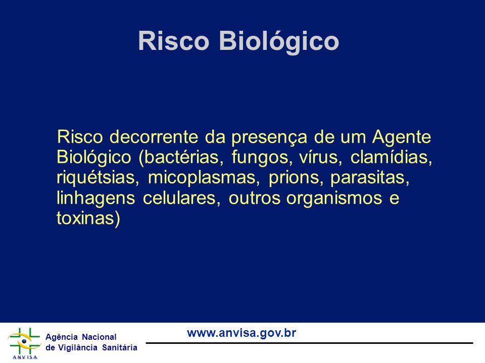 Agência Nacional de Vigilância Sanitária www.anvisa.gov.br Riscos de Contaminação em acidentes com Perfurocortantes (seringas e agulhas) Hepatite B risco de 30% risco de 30% 21 milhões de casos em 2000 ( 32% de todas as novas infecções) 21 milhões de casos em 2000 ( 32% de todas as novas infecções) Hepatite C risco de 1,8 % risco de 1,8 % 2 milhões de casos em 2000 ( 40% de todas as novas infecções) 2 milhões de casos em 2000 ( 40% de todas as novas infecções)HIV risco de 0,3 % risco de 0,3 % 260 mil de casos em 2000 ( 5% de todas as novas infecções) 260 mil de casos em 2000 ( 5% de todas as novas infecções) Fonte – OMS agosto 2004