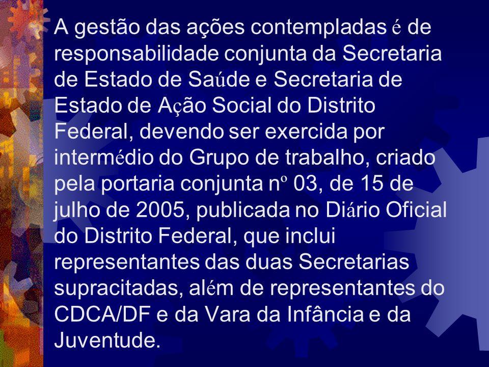 A gestão das ações contempladas é de responsabilidade conjunta da Secretaria de Estado de Sa ú de e Secretaria de Estado de A ç ão Social do Distrito