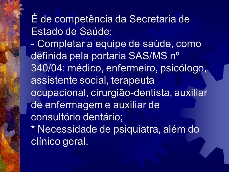 É de competência da Secretaria de Estado de Saúde: - Completar a equipe de saúde, como definida pela portaria SAS/MS nº 340/04: médico, enfermeiro, ps
