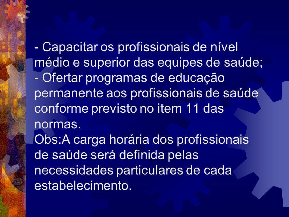 - Capacitar os profissionais de nível médio e superior das equipes de saúde; - Ofertar programas de educação permanente aos profissionais de saúde con