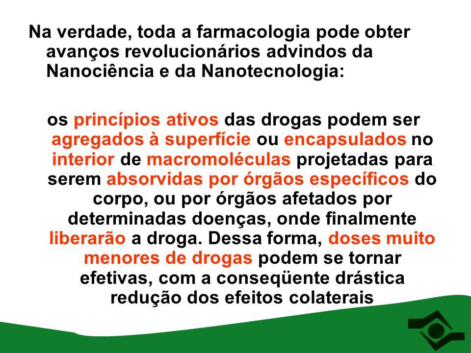 Na verdade, toda a farmacologia pode obter avanços revolucionários advindos da Nanociência e da Nanotecnologia: os princípios ativos das drogas podem