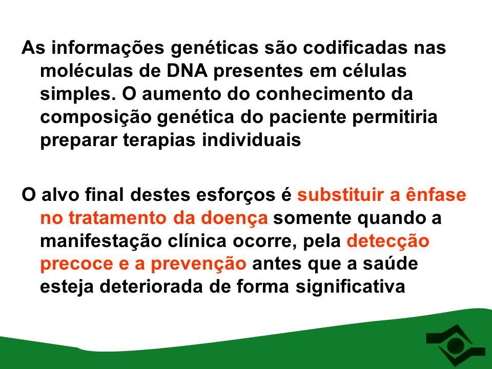 As informações genéticas são codificadas nas moléculas de DNA presentes em células simples. O aumento do conhecimento da composição genética do pacien
