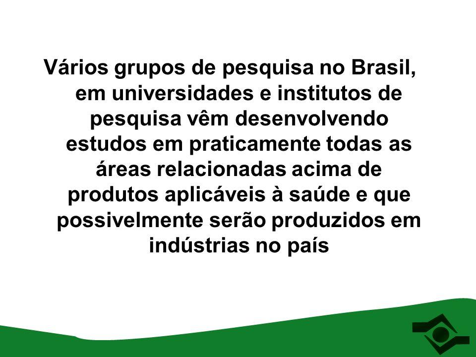 Vários grupos de pesquisa no Brasil, em universidades e institutos de pesquisa vêm desenvolvendo estudos em praticamente todas as áreas relacionadas a