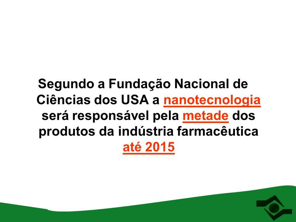 Segundo a Fundação Nacional de Ciências dos USA a nanotecnologia será responsável pela metade dos produtos da indústria farmacêutica até 2015