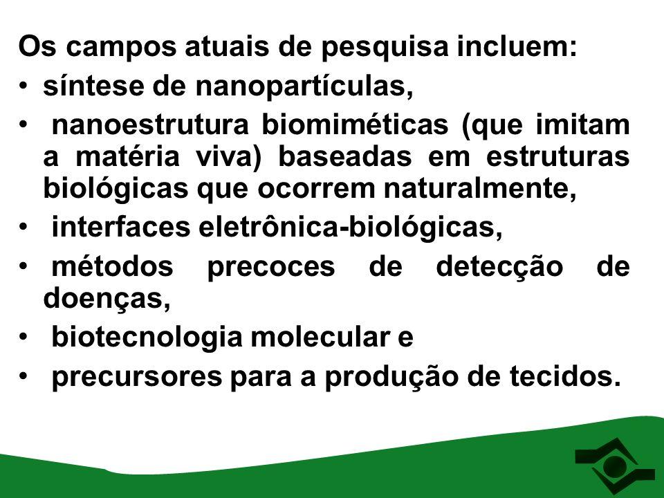 Os campos atuais de pesquisa incluem: síntese de nanopartículas, nanoestrutura biomiméticas (que imitam a matéria viva) baseadas em estruturas biológi