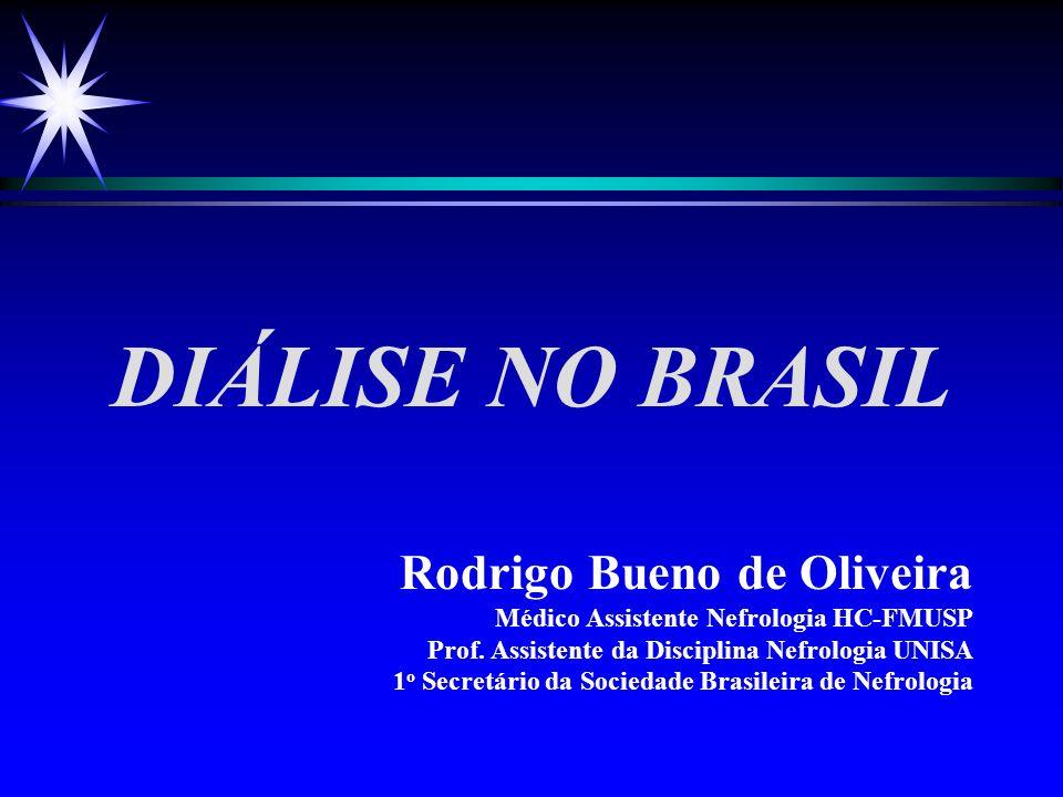 DIÁLISE NO BRASIL Rodrigo Bueno de Oliveira Médico Assistente Nefrologia HC-FMUSP Prof. Assistente da Disciplina Nefrologia UNISA 1 o Secretário da So
